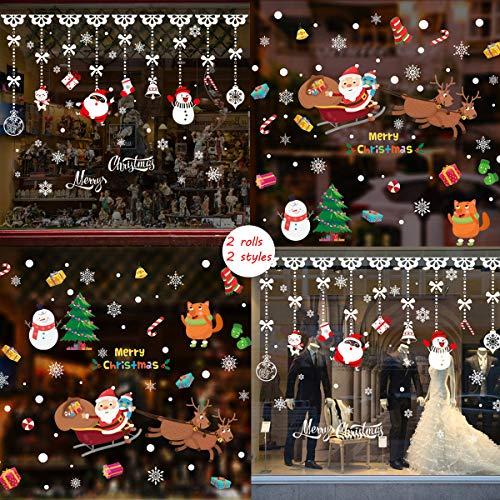 Zoo Raamdecoratie Kerstmis, 2 rollen voor raamdecoratie, kerstdecoratie, verwijderbaar, voor ramen, Kerstmis, kerstdecoratie C.