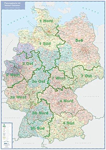 Planungskarte mit Nielsen-Gebieten: plano in Versandrolle, 1:1 Mio. (Busche Planokarten)