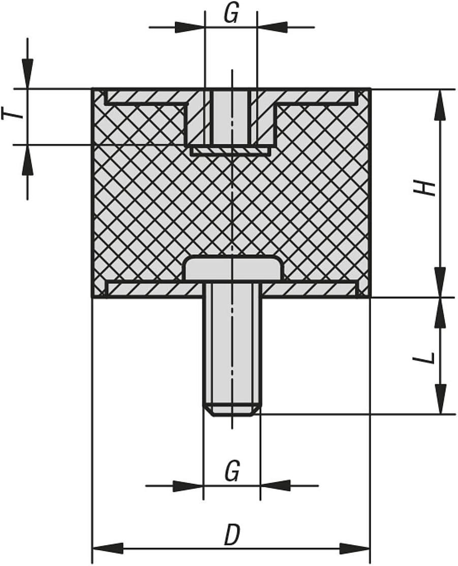 KIPP Bedienteile 10mm Schwarz Normelemente K0568.01001055.20 K0568 Gummipuffer