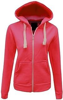 Momo&Ayat Fashions Ladies Girls Plain Hoodie Sweatshirt Fleece Lined Jacket AUS Size 8-22