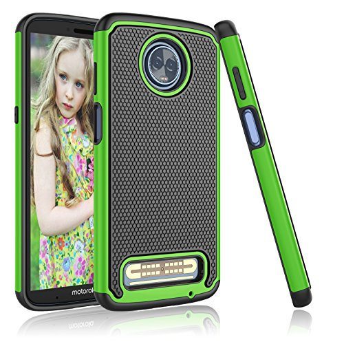Moto Z3 Case, Motorola Z3 Case, 2018 Moto Z3 Play Case, Njjex [Nveins] Impact Drop Protection Hybrid Hard Back + Soft Silicone Rubber Armor Defender Shockproof Scratchproof Slim Phone Cover [Green]
