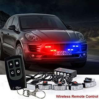 16 led Red&Blue Flashing Mode Emergency Vehicle Dash Warning Strobe Flash Light strip with remote strip with remote 10-15V