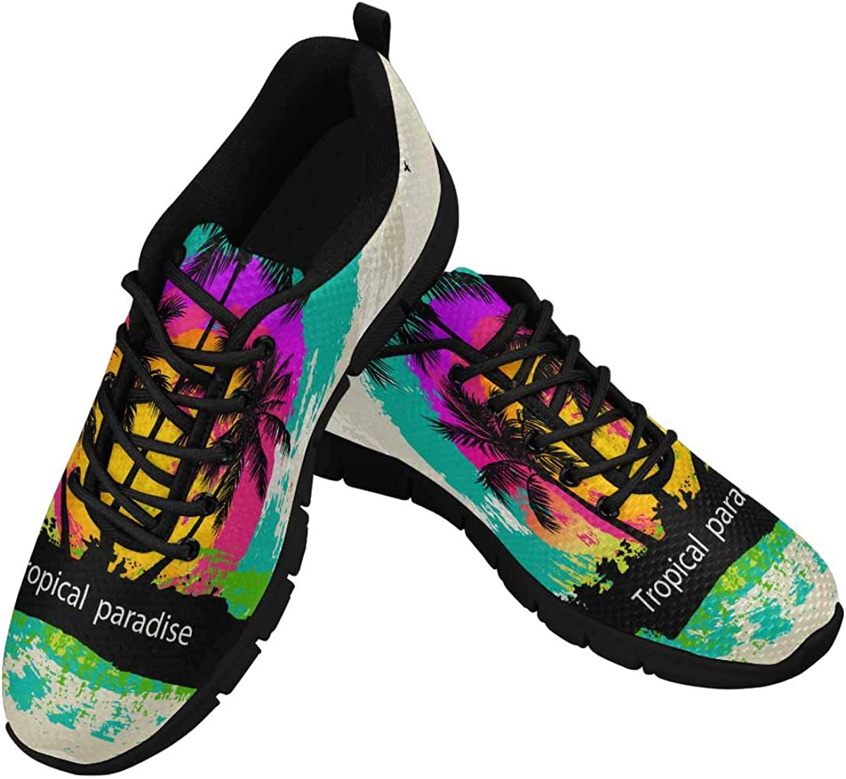 INTERESTPRINT Tropical Abstract Background Women's Athletic Walking Shoes Comfort Mesh Non Slip