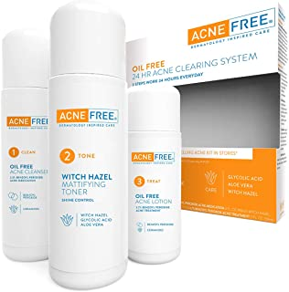 Acne Free 3 Step 24 Hour Acne Treatment Kit - Clearing System w Oil Free Acne Cleanser, Witch Hazel Toner, & Oil Free Acne...