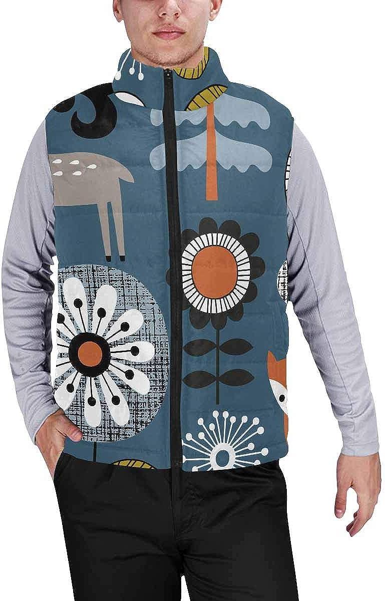 InterestPrint Men's Full-Zip Soft Warm Winter Outwear Vest Wood Board