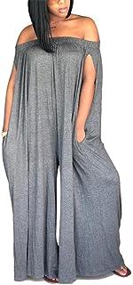cbe17276253 LAJIOJIO Womens Casual Plus Size Jumpsuits Off Shoulder Loose Wide Leg Long  Pants Jumpsuit Romper with