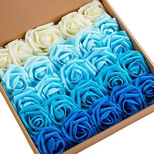 N&T NIETING Künstliche Blumen Rosen, 25 Stück Kunstblumen Gefälschte Rose mit Stielen DIY Hochzeit Blumensträuße Braut Zuhause Dekoration (Serie B Blau)