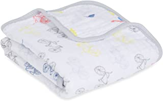aden + anais Stroller Blanket, 100% Cotton Muslin, 4 Layer lightweight and breathable, 27.5 X 27.5 inch, Leader Of The Pack, Lion and Bicycles