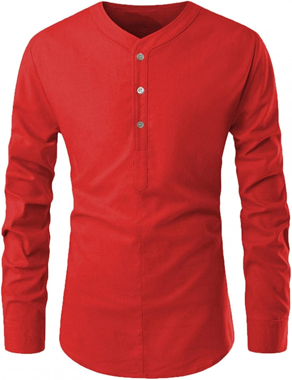 Henley Shirts for Men Long Sleeve Band Collar Button Down Tops Slim Fit Cotton Pullover Blouse Lightweight Hem Tshirt