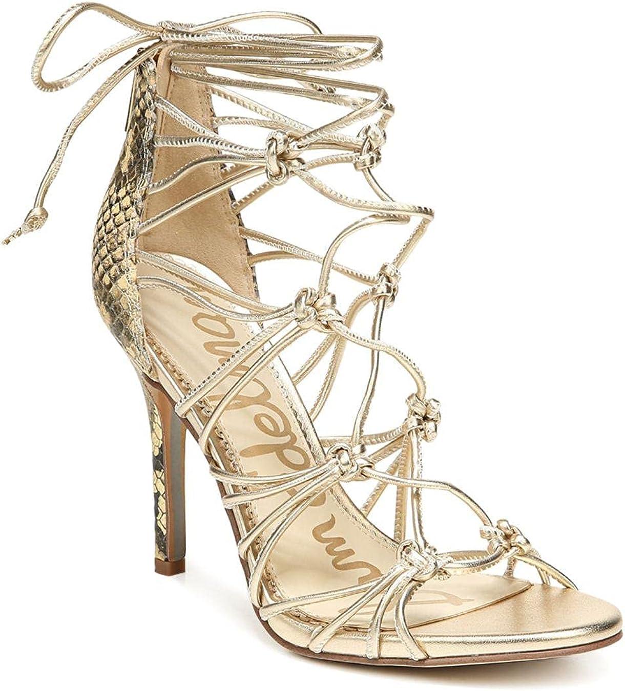 Sam Edelman Adella Metallic Ranking TOP2 Leather Caged Strappy P Gold Genuine Free Shipping Sandals