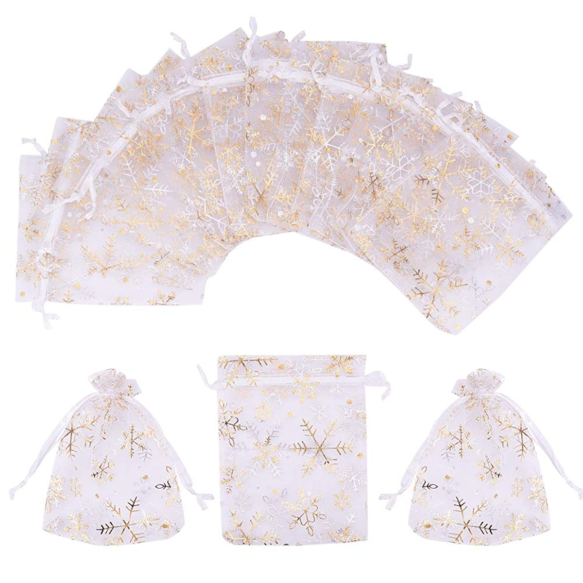 PH PandaHall 100 PCS 4 x 4.7 Inches Golden Snowflake Printed Bags Jewelry Pouch Bags Organza Drawstring Pouches Wedding Favors Candy Bags, White