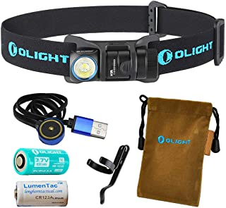 OLIGHT H1R 600 Lumens Rechargeable LED Headlamp (Choice of Three Color Headbands) w RCR123A Battery, Magnetic USB Charging Cable, and LumenTac CR123A Battery
