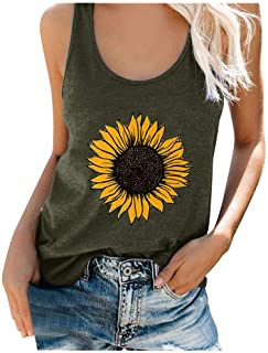 IZHH Tank Tops Women Sunflower Bee Graphic Tanks T Shirts Casual Vacation Beach Sleeveless Vest Racerback Tee
