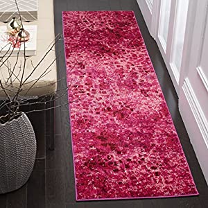 "61736vd67TL. SS300  - Safavieh Monaco Collection MNC225F Modern Abstract Watercolor Fuchsia Pink Runner Rug (2'2"" x 4')"