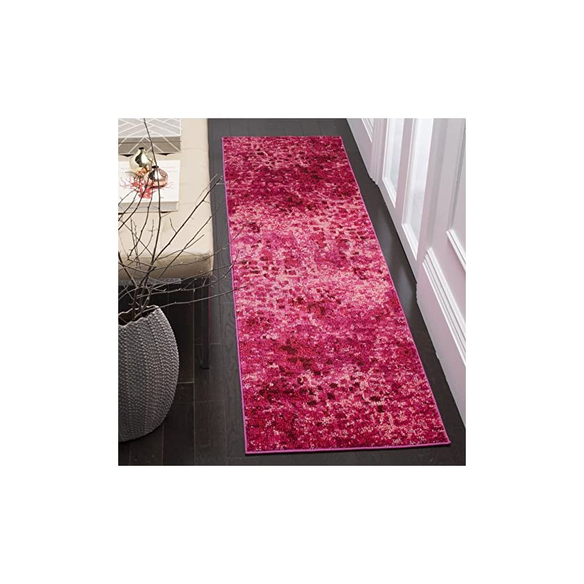 "61736vd67TL. SS840  - Safavieh Monaco Collection MNC225F Modern Abstract Watercolor Fuchsia Pink Runner Rug (2'2"" x 4')"