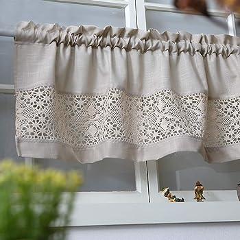 Media cortina,cortina de café,cortina de cocina,Algodón y lino/ganchillo/ cortinas pequeñas,a prueba de polvo/decoración/cortina corta,cortina de partición,chimenea/cortina pequeña,1pcs: Amazon.es: Hogar