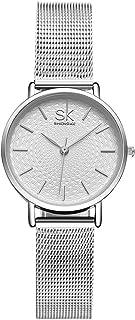 SK Watches Women Stainless Steel Band Ladies Quartz Silver Wristwatches Women Clock Bracelet Watch