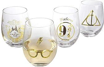 Harry Potter Stemless Wine Glasses, Set of 4 - Gold Harry Potter Symbols and Designs - Glass - 17 oz