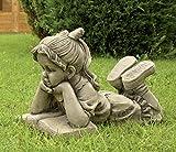 CATART Figura Decorativa niña Leyendo en hormigón-Piedra para el jardín Exterior 50X36cm.