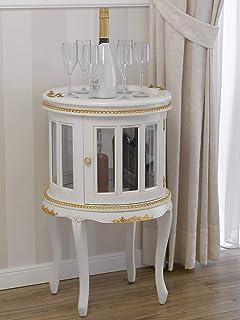 SIMONE GUARRACINO LUXURY DESIGN Table Basse Coloniale Ronde vitrine Bar casier Porte-Bouteilles Style Baroque Décapé Ivoir...