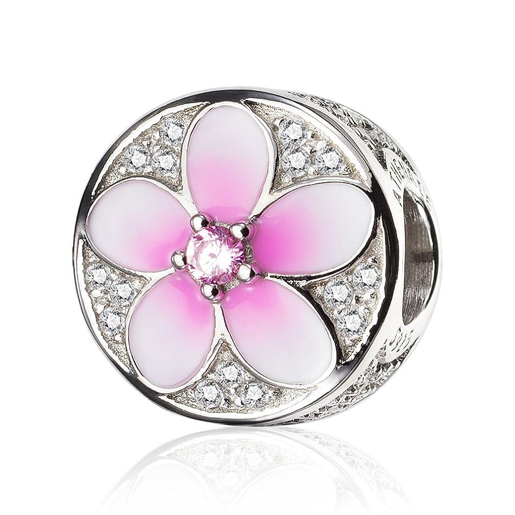 ATHENAIE 925 Sterling Silver Magnolia Bloom Pale Cerise Enamel Clear CZ Bead Charms