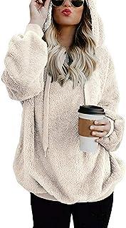 Mujer Sudadera Caliente y Esponjoso Tops Chaqueta Suéter Abrigo Jersey Mujer Otoño-Invierno Talla Grande Hoodie Sudadera c...