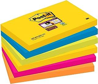 Post-It Super Sticky 6556SR - Pack de 6 blocs de notas, 76 x 127 mm, Cape Town (Amarillo Neón/Verde Neón/Rosa Fucsia/Naranja Neón)