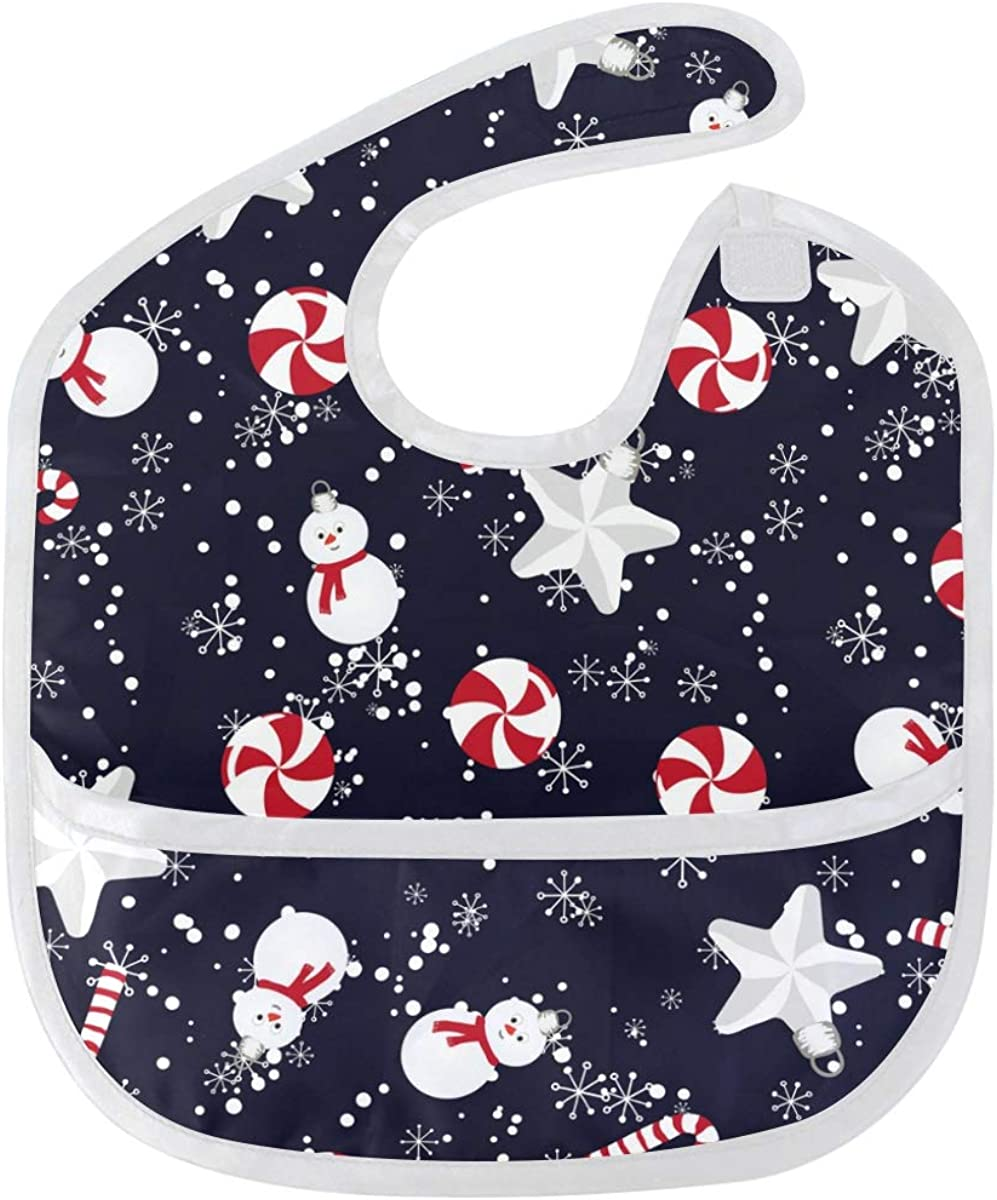 Raleigh Mall Christmas Snowman Baby Bibs Waterproof Classic Stain and Odor Washable