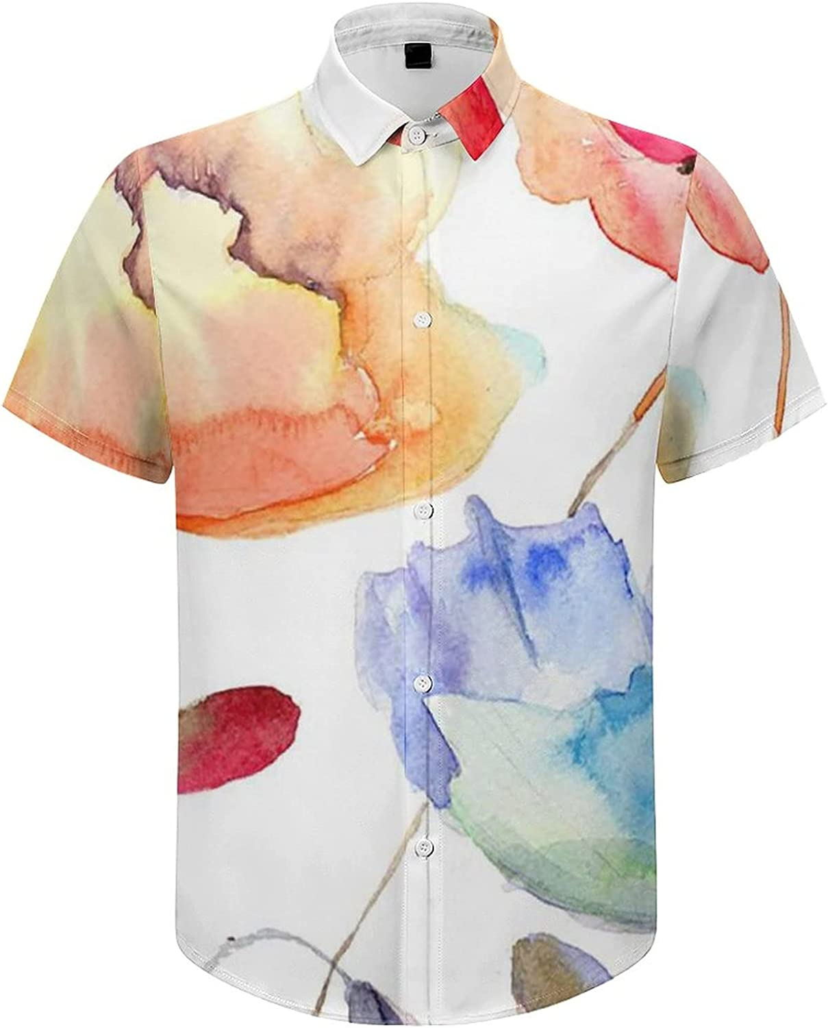 Kimisoy Men's Short Sleeve Watercolor Flowers Summer Sales of SALE items from new works Shirt Max 59% OFF