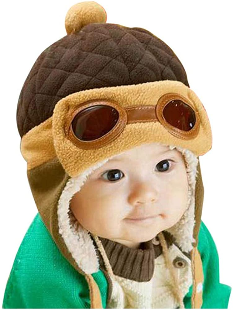 Crochet Earflap Pilot Hats Rabbit Ears Beanie Cap Winter Warm Knit Caps for Toddlers Baby Girls and Boys (Coffee): Clothing, Shoes & Jewelry