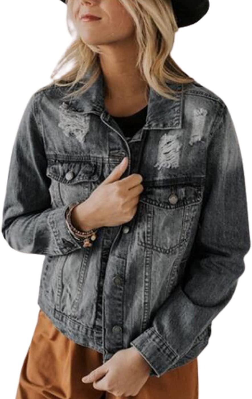 WanXingLiHe Ripped Lapel Jean Jacket for Women, Slim Casual Blue Denim Coats Outwear Fashion Clothing,Gray,3XL