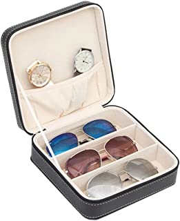 Aco&bebe House 3-Slot Travel Sunglass Organizer Collector - Faux Leather Jewelry Storage Case Box