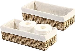 HOSROOME Bathroom Storage Organizer Basket Bin Toilet Paper Basket Storage Basket for Toilet Tank Top Decorative Basketfo...