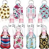 Set de 16 LlaveroS de Botella de Viaje, Incluye 8 Mini BotellaS de Spray de Plástico Transparente y 8 Llaveros de Botella Titulares de Bálsamo...