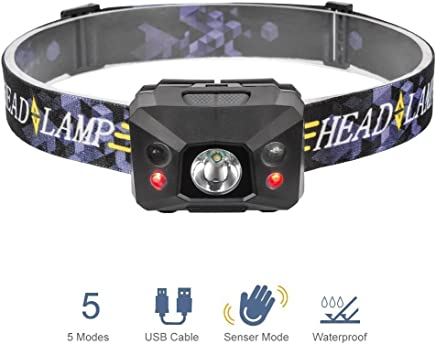 Linkax LED Headlamp Flashlight Headlight USB Rechargeable Head Lamp with Induction 5 Lighting Modes Head Light for Camping Fishing Running