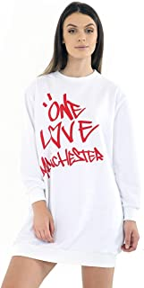 Womens Oversized Baggy Loose Fit Every One Love Manchester Sweatshirt Top Dress