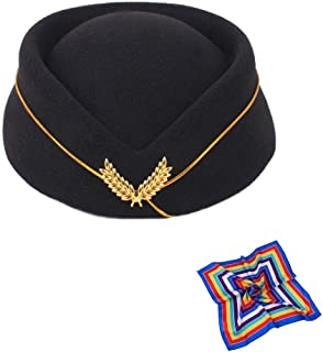 Flight Attendant Hat for Women - Stewardess Hat, Pillbox Hat for Cosplay Party