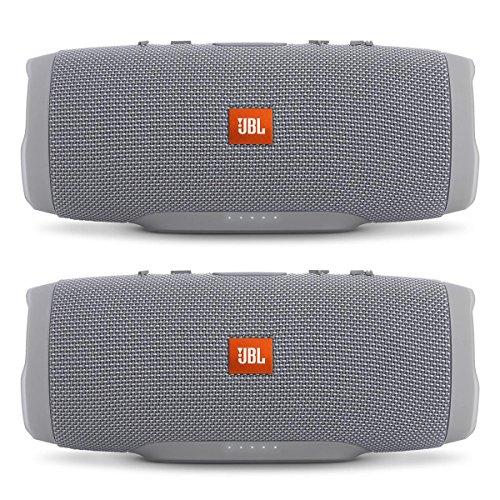 JBL Charge 3 Waterproof Portable Bluetooth Speaker - Pair (Gray/Gray)