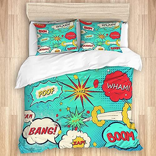 Cómodo juego de funda nórdica para dormitorio, superhéroe, estilo pop, cómic, burbujas de...