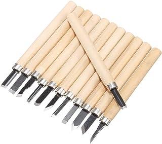 Bestgle 12 Piezas Cuchillo de Talla de Madera Cincel Artesanal de Bricolaje, Cuchillo de Talla Profesional de la Madera Herramientas de Gouges