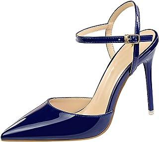 d41e587c02a90 wealsex Escarpins Sandales Cuir Vernis Talon Haut Aiguilles Sexy Bout  Pointu Bride Cheville Chaussure Mode Simple