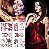Chengzhi Temporay Tattoos, 10 Verschiedene Design Blätter, Halloween Zombie Narben Tattoos Aufkleber mit gefälschten Schorf Blut spezielle Fx Körper Make-up Requisiten