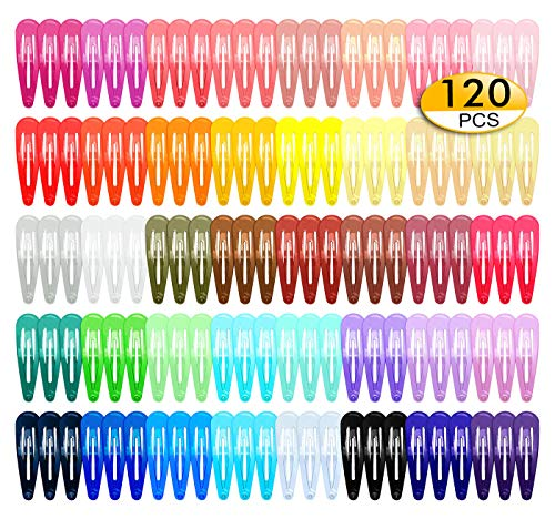 Beauty Shopping 120 Pack Girls Hair Clips, 40 Assorted Candy Colors Hair Clips Barrettes 2 Inch Metal