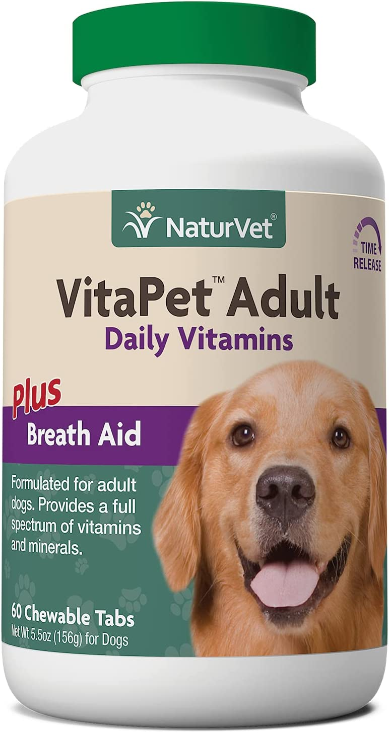 NaturVet VitaPet Adult Daily Vitamins Plus Breath Aid Dog Multivitamin Supplement, Chewable Tablets Time Release, Made in the USA