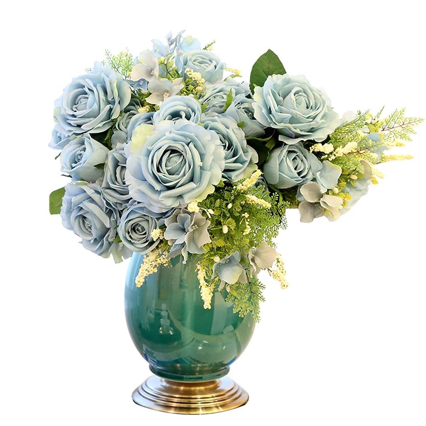 ジョブ応じる各フラワーベース?花器 花瓶 家庭用陶器の花瓶 リビング花瓶 コンソールデスクトップクリエイティブ家具デコレーションオーナメント (Color : Blue, Size : 18*38cm)