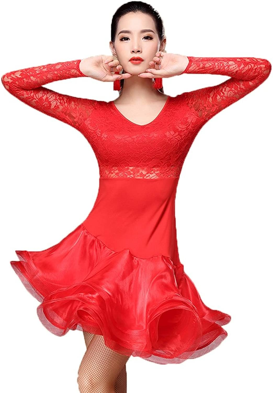 Lateinische Tanzkleider Für Frauen Performance Schnüren Lange rmel Sexy Zurück Trainingsbekleidung Tanz-Outfit