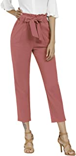 Women's Pants Casual Trouser Paper Bag Pants Elastic...