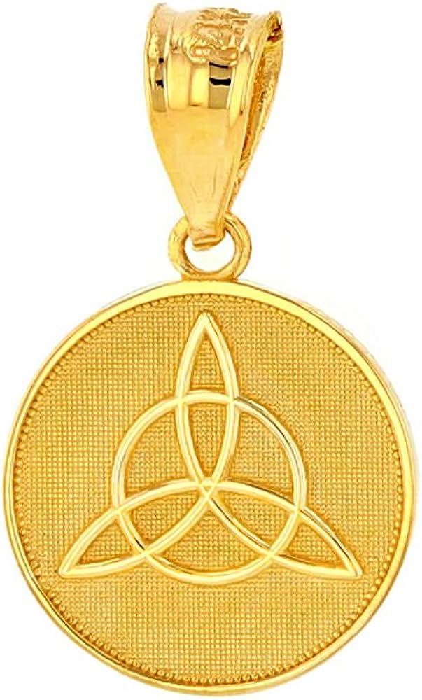 Dainty 10k Yellow Gold Irish Infinity Circle Celtic Trinity Knot Disc Pendant