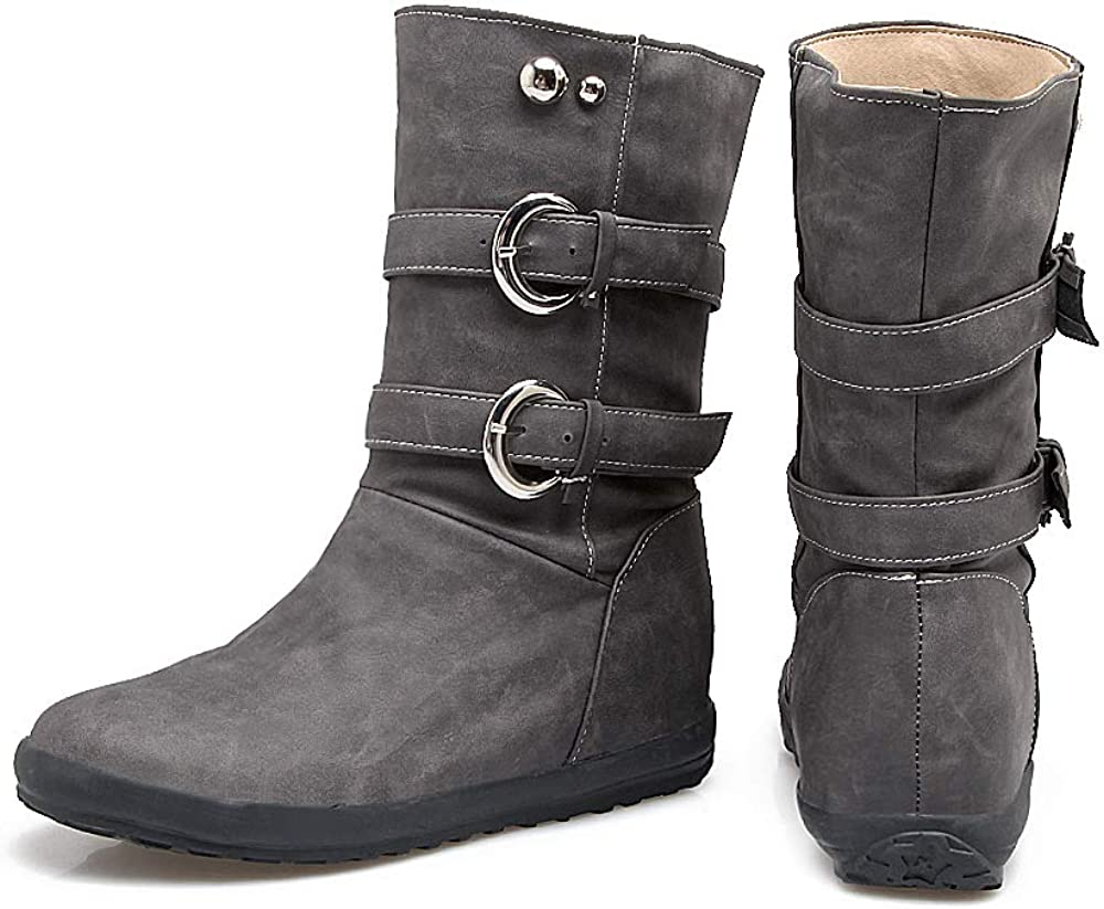 Women Casual Buckle Flats Mid Calf Boots Slip on Motorcycle Boots Cowboy Boots Grey