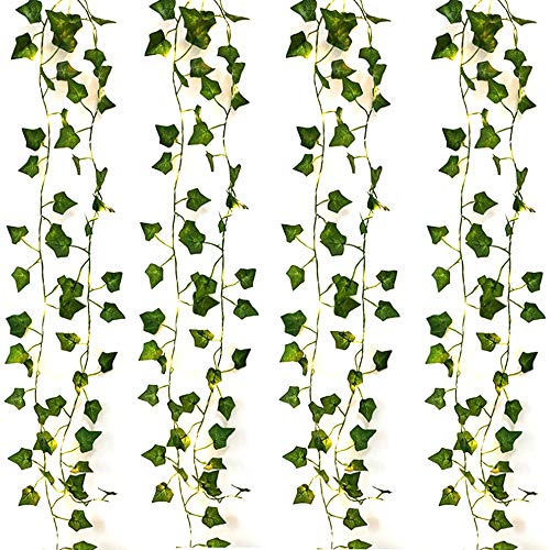 DEDC 4 Pack/Each 2 Meter 20 LED String Lights Artificial Ivy Fake Garland Green Leaf Plants Vine Battery Operate Fairy String Lights Hanging for Wedding Party Home Wall Decor